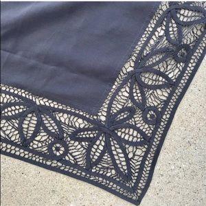 NATHALIE long SILK SCARF gray crochet lace trim